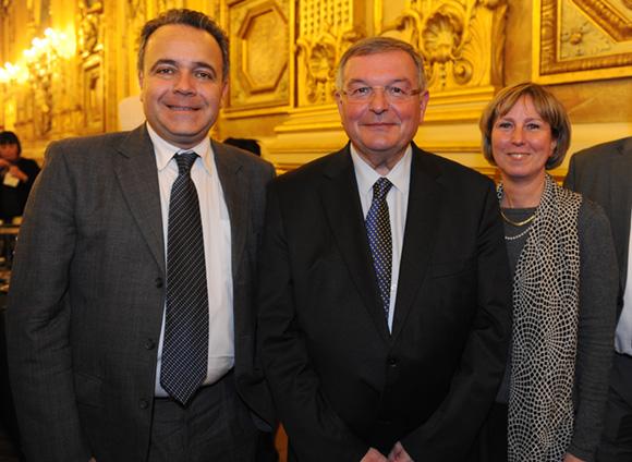 30. Denis Broliquier, maire du 2ème, Michel Mercier, maire de Thizy-les-bourgs et Blandine Reynaud, conseiller municipal
