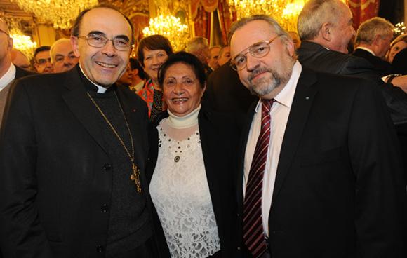 6. Le cardinal Philippe Barbarin, Alexandrine Pesson, maire du 5ème et Jean-François Duchamp, maitre de chapelle de la cathédrale de st Jean