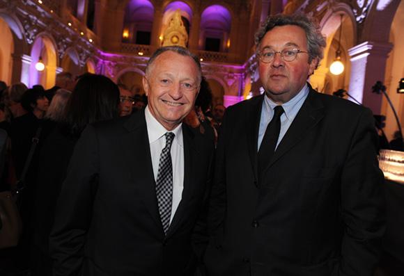 6. Jean-Michel Aulas, président de l'OL et Jean-Michel Joly (Flash-Infos)