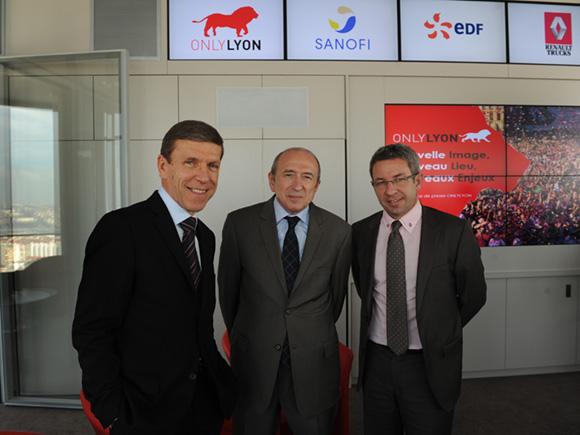10. Jacques de Chilly (Aderly-Invest In Lyon), Gérard Collomb, sénateur-maire de Lyon et Lionel Flasseur (OnlyLyon)