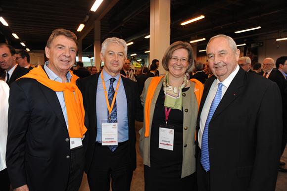 51. Bernard Fontanel, président du Medef Lyon Rhône, Jean-Pierre Levayer (Banque Populaire), Stéphanie Paix (Caisse d'Epargne) et Jean-Paul Mauduy, président de la CRCI