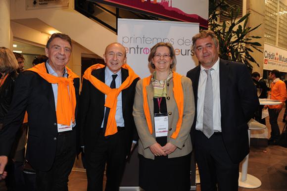 74. Bernard Fontanel, président du Medef Lyon Rhône, Gérard Collomb, sénateur-maire de Lyon, Stéphanie Paix (Caisse d'Epargne) et Jean-Christophe Larose (Groupe Cardinal)