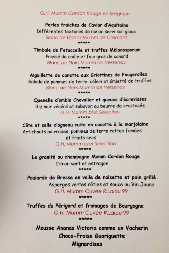 Le menu 2013, revisité par le chef de la maison Greuze, Yohann Chapuis.