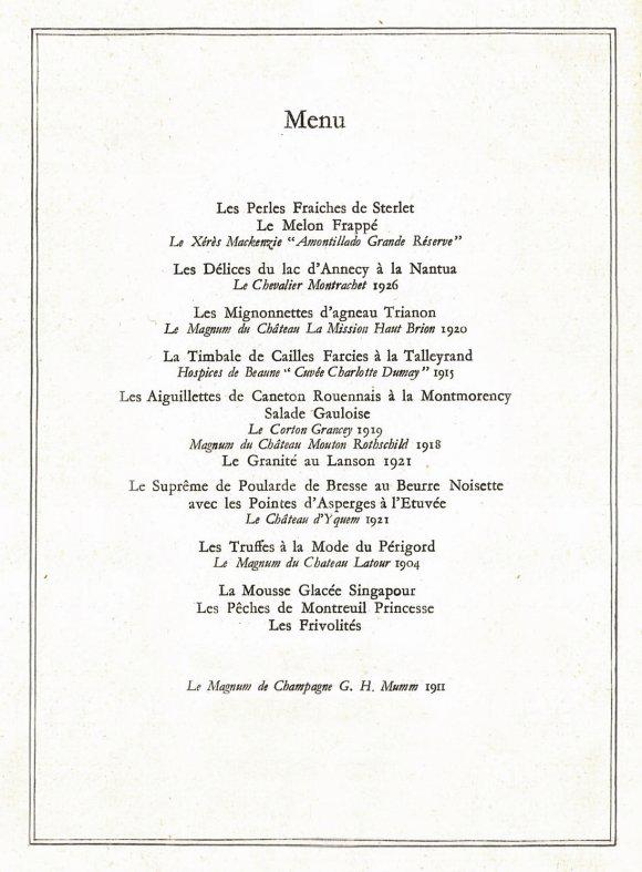 Le menu original, servi le 21 juillet 1938 à la Galerie des Glaces de Versailles, à l'occasion de la visite du roi Georges VI et de la reine Elizabeth en France