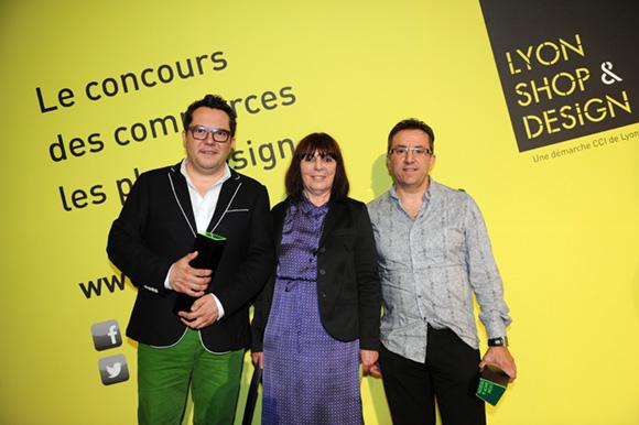 32. Nicolas Fafiotte (Nicolas Fafiotte Couture), Nadine Gelas vice-présidente du Grand Lyon et Richard Bagur (Architecte d'interieur CFAI)
