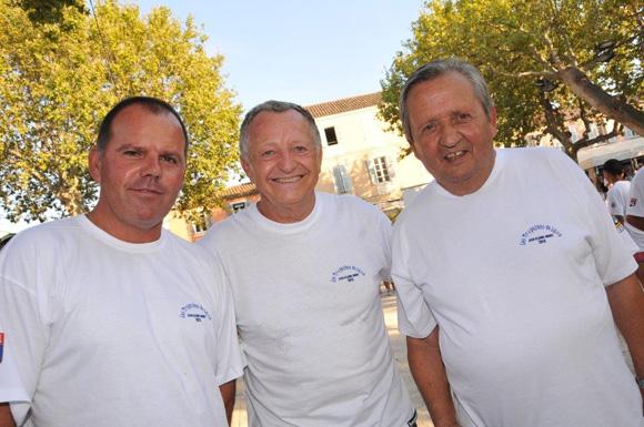 6. Jean-Michel Aulas et ses champions Bettoni et Pelloux