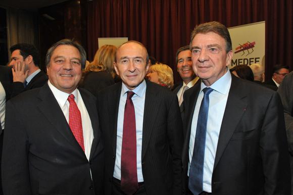 7. François Turcas (CGPME), Gérard Collomb, sénateur maire de Lyon et Bernard Fontanel, président du Medef Lyon