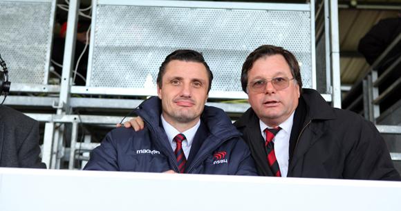 13. Pierre Saliba, président de Béziers et Franck Isaac-Sibille, vice-président du LOU Rugby