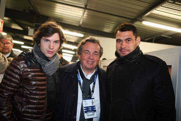 15. Marc-Antoine Ginon (LOU Rugby), Olivier Ginon président de GL Events et Georges Smith, nouvelle recrue du LOU