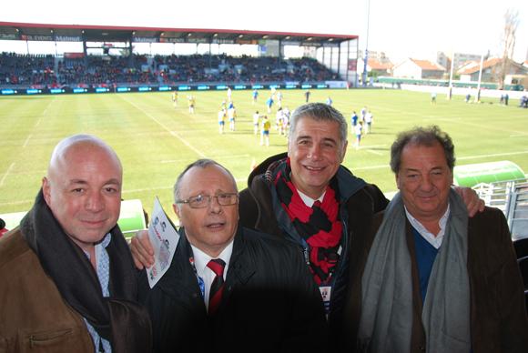 1. Yvan Patet (EMC2), Léandre Bourbon et Pierre Maillot (LOU Rugby) et Hervé Prenat (OGECIA)