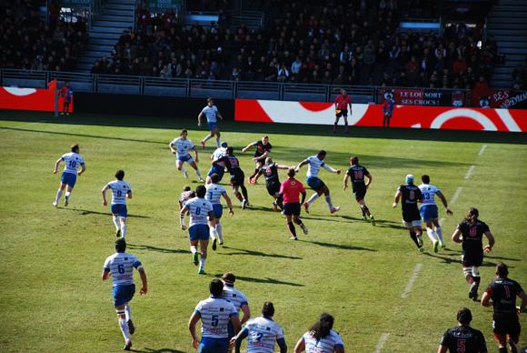 Les tribunes VIP LOU Rugby-Colomiers. Les Lyonnais creusent l'écart