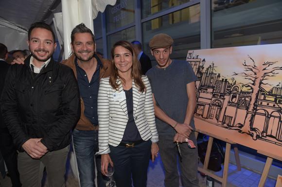 51. Vincent Ivanez, Fabrice Borie (Brasserie le 12), Valérie  Escot (Banque Populaire) et l'artiste peintre Maxime Ivanez
