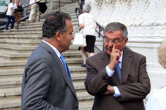 1. Fidèles au rendez-vous du Vœu des Échevins, le maire du 2e arrondissement Denis Broliquier (UDI) et l'ex-Garde des Sceaux Michel Mercier (UDI)