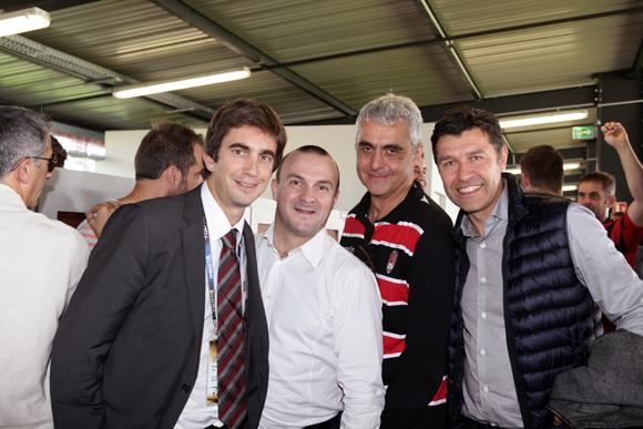 19. Yann Robert, président du LOU Rugby, Cyril Bosviel (Institut Paul Bocuse), Bernard Modat et Hubert Founier (Renault Trucks)