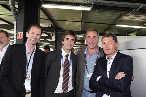20. Pierre Arvis (GL Events), Yann Robert, président du LOU Rugby, Olivier Ferraton (GL Events) et Phillipe Bettant (Smart)