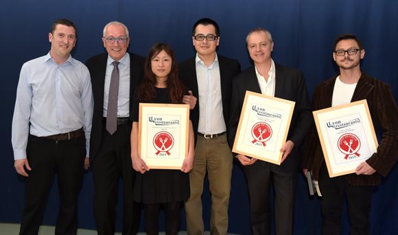 2. Les nouveaux lauréats, Gaby Di Donna & Junko Matsunaga (Imouto), Eric Hubert & Damien Combe (Mon Bistrot à moi) et Hubert Vergoin (Substrat Restaurant)