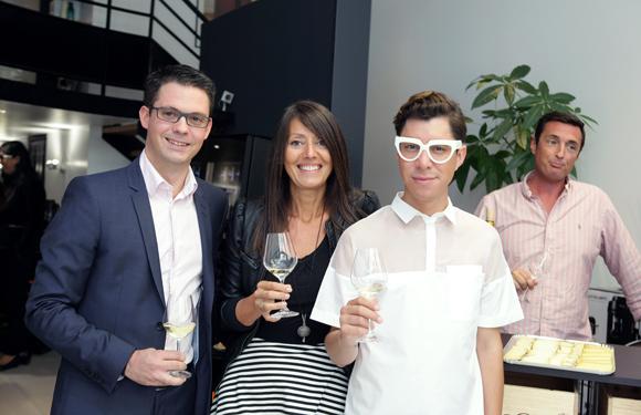 5. Guillaume Gaydon (EuroCave), Florence Guyot (Champagne Margueritte Guyot) et Dado Lopez-Perez, styliste de mode