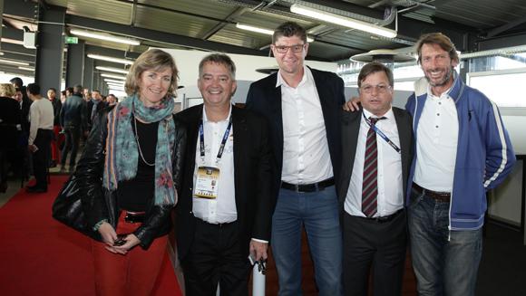 21. Blandine Vignon (CCI de Lyon), Guy Mathiolon (Serfim), Nicolas Forel, président du Lyon Basket Féminin, Franck Isaac-Sibille (LOU Rugby) et Stéphane Bellemin (MMIC)