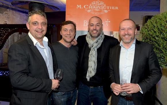 33. Frédéric Cote (Au Colombier), Frédéric Berthod (33 Cité), le chocolatier Philippe Bernachon et François Gaillard (Lyon Tourisme & Congrès)