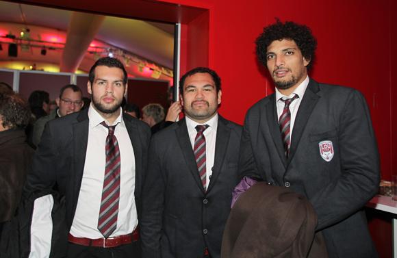 7. Thibaut Regard, Hoani Tui, pilier et Karim Ghezal, joueurs du LOU Rugby