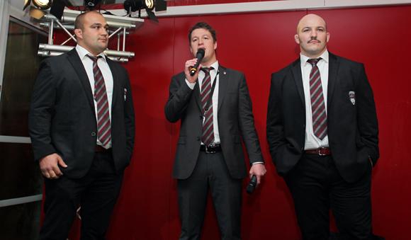 9. Anthony Roux, pilier, Mathieu Renaud (LOU Rugby) et Jérémy Castex, pilier