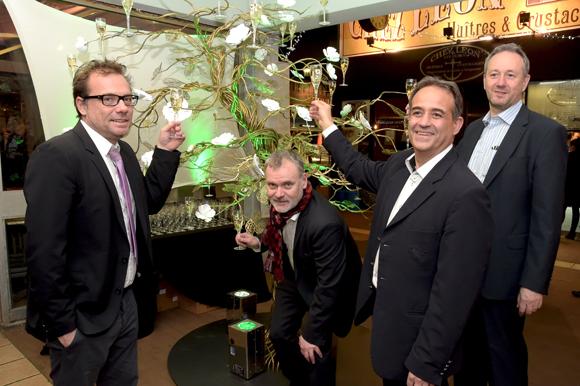 2. Pierre-Yves Gas (Agence Proxi'com), Pascal Delaporte, Philippe Rousset et Jean-Michel Wetsch (Champagne Perrier Jouët)