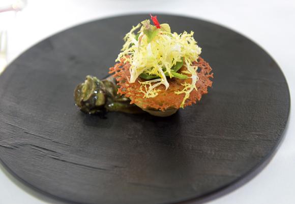27. Artichaut poivrade sous un voile croustillant escargot de bourgogne
