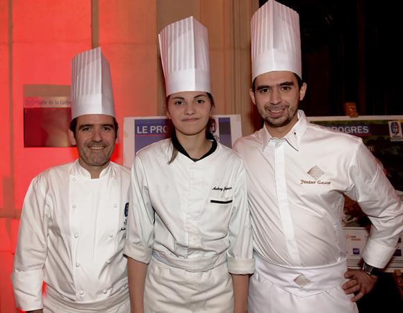 11. Julien Gautier (M Restaurant), Audrey Jacquier (Le Vivarais) et Jeremy Galvan (Jeremy Galvan), les chefs du dîner de gala