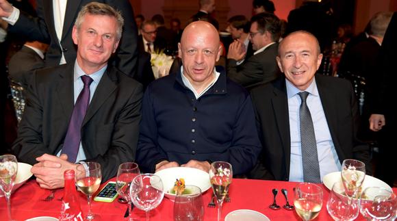60. Pierre Fanneau, DG du groupe Progrès, le chef Thierry Marx et Gérard Collomb, sénateur-maire de Lyon