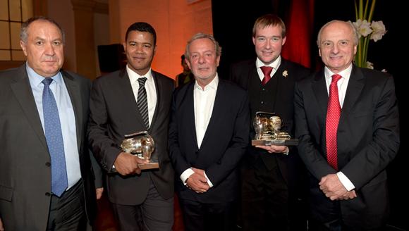 61. José Sanchez (FCH), Jean-Alexandre Ouaratta, Jean-Claude Lavorel (Lavorel Hôtels), le sommelier Gaëtan Bouvier et le chef Pierre Orsi