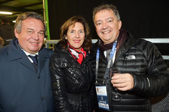 31. Olivier Ginon, président de GL Events, son épouse Jacqueline et Guy Mathiolon, président de Serfim