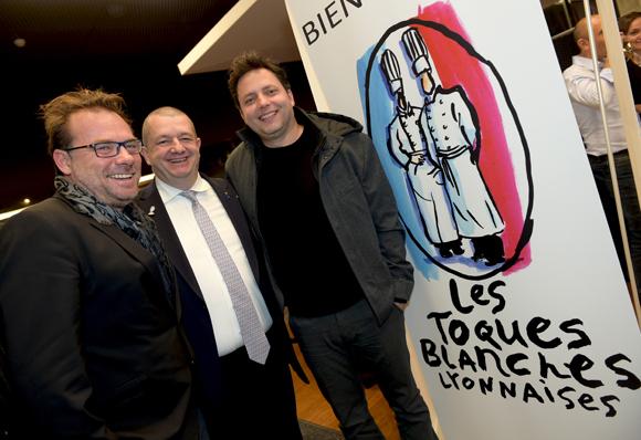 51. Pierre-Yves Gas (Proxi'com), Christophe Marguin, président des Toques Blanches Lyonnaises et Fred Garcia (Greenewell Productions)