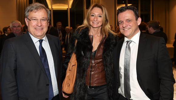 7. Emmanuel Imberton, président de la CCI de Lyon, Nathalie Degardin (Le Progrès) et Laurent Fiard, président du Medef Lyon-Rhône