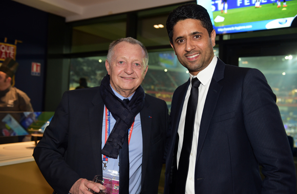 34. Jean-Michel Aulas, président de l'OL et  Nasser Al-Khelaïfi, président du PSG