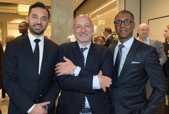 10. Massimiliano Brunazzo (Hugo Boss), l'horloger Jean-Louis Maier et Matthieu Tambo (Hugo Boss)