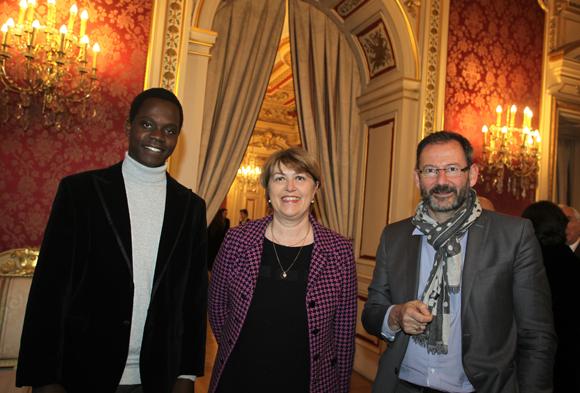 13. Aimé Mbonankira, filleul Sanofi Pasteur, Marie-José Quentin-Millet (Sanofi) et Christophe André (Sanofi Pasteur)