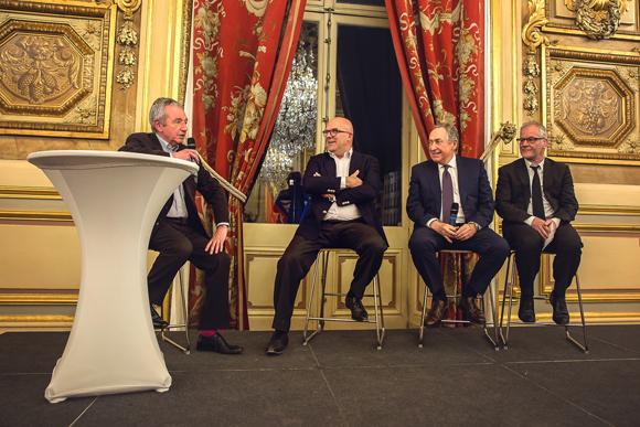 31. Le professeur François Mauguière (Fondation Neurodis), Bruno Bonnell (Robolution Capital), Gérard Houllier (Red Bull Monde), Thierry Frémaux (Institut Lumière)