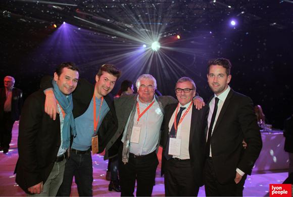 43.Cédric Diogon (MEDEF Lyon-Rhône), Yann Féminier (Deepidoo), Christian Donzel (Visiativ), Christophe Bouyer (ISS Propreté) et Noel Thiefine (FNTV)