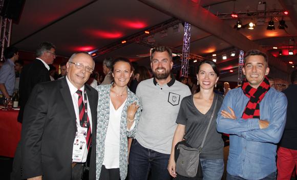 3. Léandre Borbon (LOU Rugby), Ségolène Choplin, Jérôme Troy, Delphine Borbon (Previfrance) et Nicolas Gueyton (INES CRM)