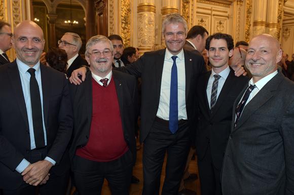 11. Geoffrey Mercier, conseiller au cabinet de Laurent Wauquiez, Antoine Deperray, Laurent Wauquier, président du Conseil Régional, Arthur et Jean Louis Maier
