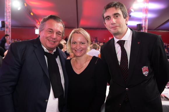 1. Olivier Ginon, président de GL Events, Caroline Collomb et Yann Roubert, président du LOU Rugby