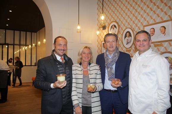 1. Vincent Ferniot, créateur du concept Boco, Marie Odile Fondeur, directrice du SIRHA, Pascal Blache, maire du 6ème et Yves Hunckler, fondateur de la franchise Boco