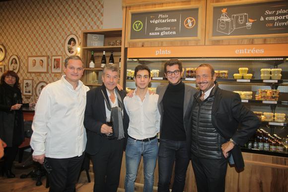 33. Yves Hunckler, fondateur de la franchise Boco, le chef Régis Marcon, Alexandre Grimaldi, Victor Hunckler et Vincent Ferniot, créateur du concept Boco
