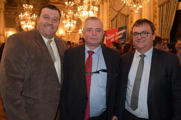 41. Bruno Vernay (Le Progrès), Gérard Cormoreche, président du Crédit Mutuel Sud-Est et Hervé Faivre (CMSE)