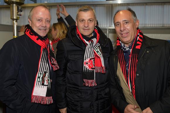 42. Bernard Lacombe, Bruno Genesio (OL) et Jean-Yves Delorme (Parks & Sports)