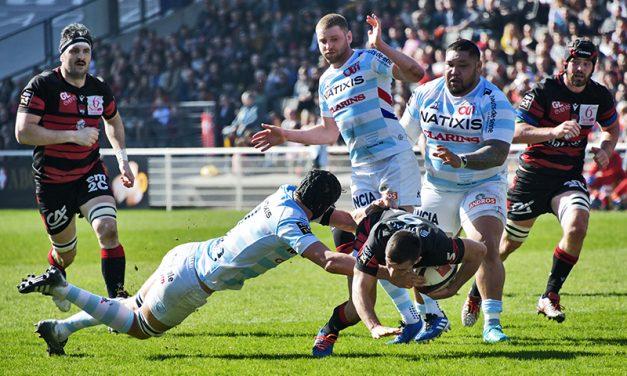 Les tribunes VIP de LOU Rugby – Racing Paris. Foule politique