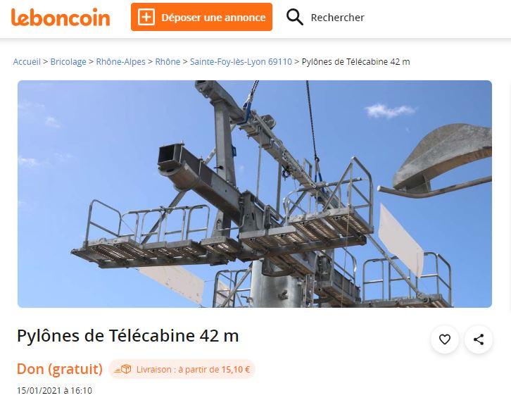 Téléphérique de Sainte Foy les Lyon. Ses pylônes font le bonheur du site Leboncoin et des internautes